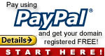 Free domain name if you use <b>paypal</b> for you payment method!